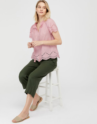 Monsoon Suzie Schiffli Top in Organic Cotton Pink