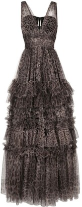 Dolce & Gabbana Leopard Print Tulle Evening Gown
