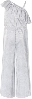 Monsoon Girls Cassandra Silver One Shoulder Jumpsuit - Silver