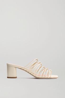 AEYDĒ Pearl Leather Mules - Cream