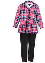 U.S. Polo Assn. Pink & Blue Plaid Peplum Top & Leggings - Toddler & Girls