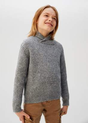 MANGO Camp-collar knit sweater dark heather grey - 5 - Kids