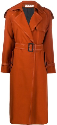 Marni contrast stitching belted trench