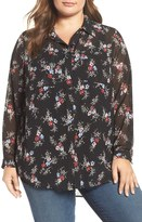 Vince Camuto Bouquet Ditsy Collared Tunic Blouse (Plus Size)