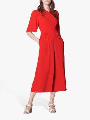 LK Bennett Clemence Wide Leg Cropped Wrap Jumpsuit, Bright Red
