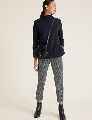 Marks and Spencer Mia Slim Cotton Geometric Cropped Trousers