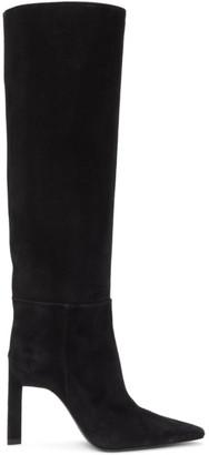 ATTICO Black Suede High Heel Tall Boots