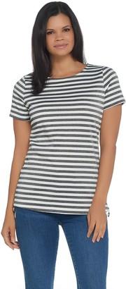 BROOKE SHIELDS Timeless Ponte Striped Short- Sleeve Top w/ Side Zip Detail