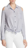Splendid Mixed Stripe Cold Shoulder Shirt