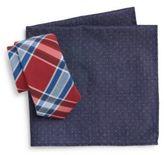 Original Penguin Euro Plaid Tie & Mini Polka Dot Pocket Square Set