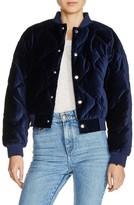 Maje Women's Quilted Velvet Bomber Jacket