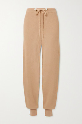 Mother of Pearl + Net Sustain Ribbed Organic Cotton And Wool-blend Track Pants - Camel