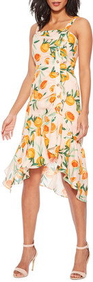 Parker Millie Asymmetrical Orange-Print Flounce Dress
