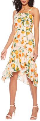Parker Millie Asymmetrical Orange-Print Flounce Dress