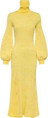 ANNA QUAN Amalia Puff-Sleeve Ribbed-Knit Cotton Maxi Dress