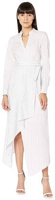 BCBGMAXAZRIA Striped Shirtdress (White Combo) Women's Dress