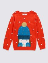 Marks and Spencer Long Sleeve Hat Print Jumper (1-7 Years)