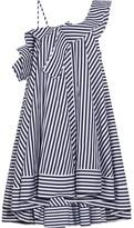 MSGM One-shoulder Ruffled Striped Cotton Mini Dress - Blue