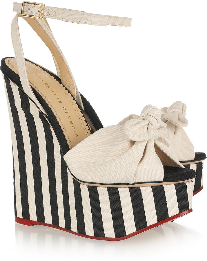 Charlotte Olympia Meredith striped canvas wedge sandals