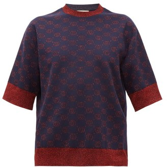 Gucci GG-logo Jacquard Wool-blend Short-sleeved Sweater - Blue Multi