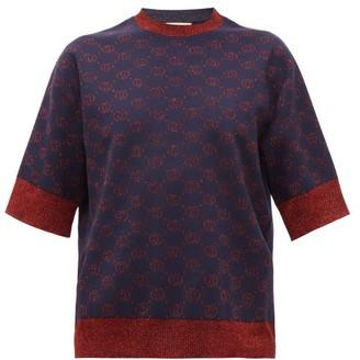 Gucci GG-logo Jacquard Wool-blend Short-sleeved Sweater - Womens - Blue Multi