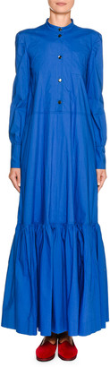 Double J Long-Sleeve Tiered Maxi Shirtdress