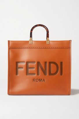 Fendi Sunshine Shopper Debossed Leather Tote - Brown