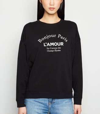 New Look Bonjour Paris Slogan Sweatshirt