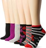 Betsey Johnson Women's Embellished Lip and Stripe Low Cut Socks 6 Pack