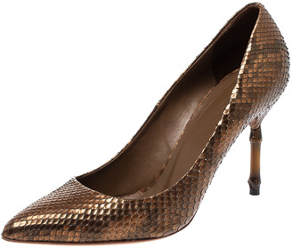 Gucci Brown Python Leather Pointed Toe Pumps Size 39.5