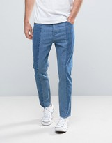 Asos Bow Leg Ankle Grazer Jeans With Raw Hem Detail In Mid and Light Blue Panels