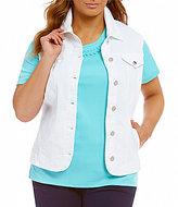 Allison Daley Plus Super Stretch Twill Button Front Vest