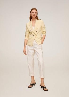 MANGO Double-breasted blazer pastel yellow - 2 - Women