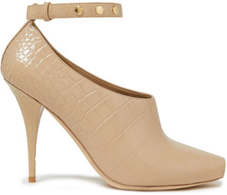Burberry Studded Croc-effect Leather Pumps