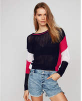 Express color block open stitch wedge popover sweater