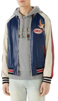 Gucci Leather Logo& Bird Bomber Jacket