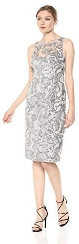 Adrianna Papell Women's Halter Illusion Neckline Sequin Embroidered Sheath Dress, 4