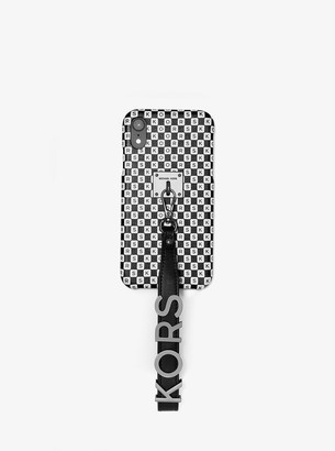 MICHAEL Michael Kors Checkerboard Logo Leather Wristlet Case For iPhone XR