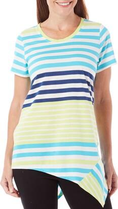Caribbean Joe Women's Short Sleeve Striped Scoop Neck Uneven Hem Tee