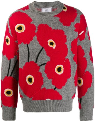 Ami Applied Felt Poppies Jumper