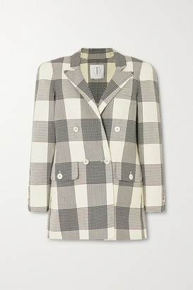 TRE by Natalie Ratabesi Double-breasted Checked Wool Blazer - Cream