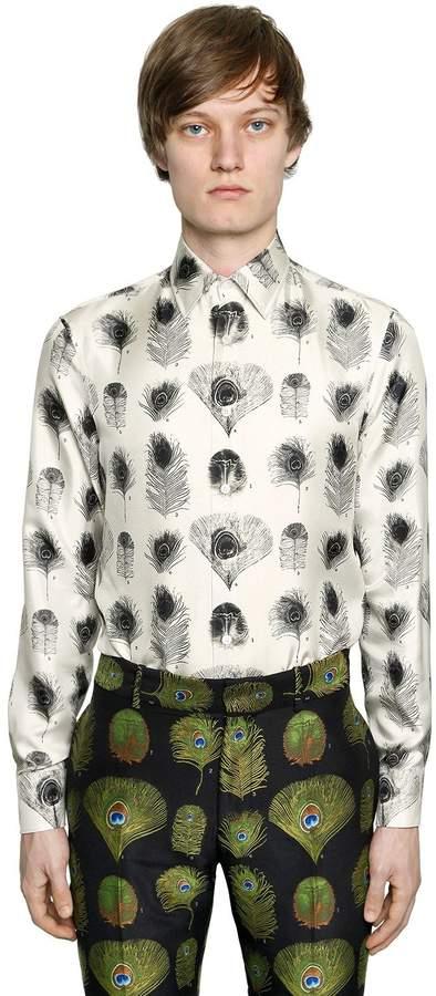 Alexander McQueen Peacock Printed Silk Twill Shirt