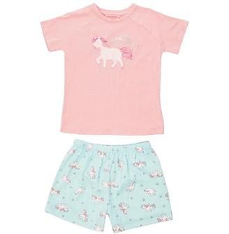 Board Angels Girls Short Sleeve Top And Jersey Shorts Set Pink/Aqua