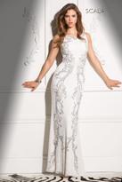 Scala 48550 High Neckline Long Prom Dress