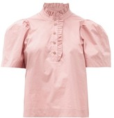 Sea Clara Puff-sleeve Cotton-blend Blouse - Womens - Light Pink