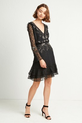 French Connection Bella Sparkle Embellished Lace Dress