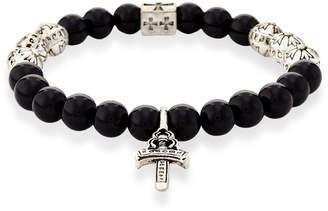 Jean Claude Silver-Tone & Black Cross Bracelet