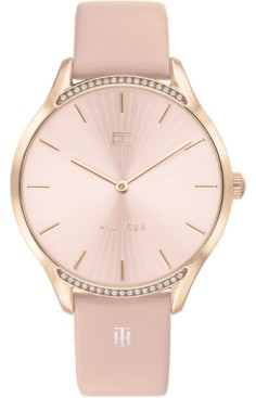 Tommy Hilfiger Women's Pink Leather Strap Watch 36mm, Created for Macy's