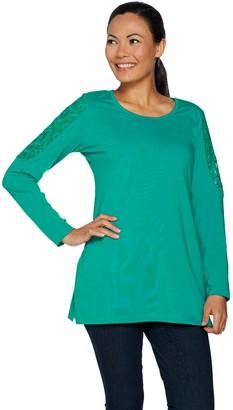 Denim & Co. Lace Shoulder Long Sleeve Scoop Neck Tunic