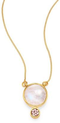 Ophelia Moonstone & Sliced Raw Diamond Pendant 18K Yellow Goldplated Necklace